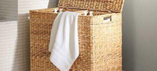 Плетёная корзина для белья – разновидности и материалы